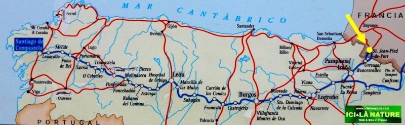 Map camino de santiago from Saint Jean Pied de Port