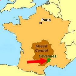 MAP CEVENNES FRANCE