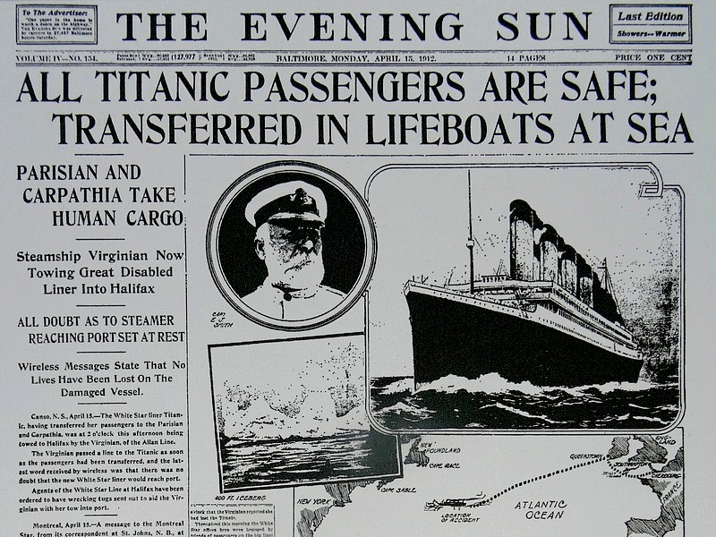 63-the evening sun april 15, 1912 all titanic passengers safe
