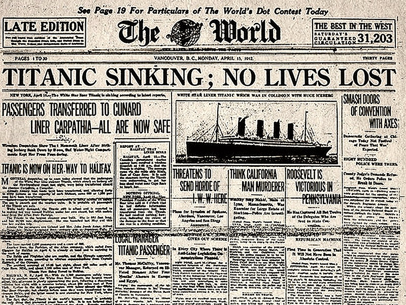 70- titanic sinking - the world april 15, 1912