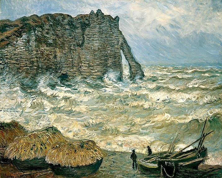 59-claude monet Stormy Sea in Étretat