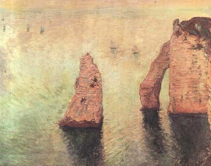 61-monet Sailboats behind the needle at Etretat, 1885