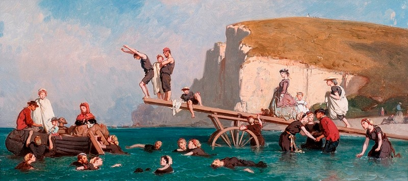 Le poittevin bathing in etretat 1858 normandy museum