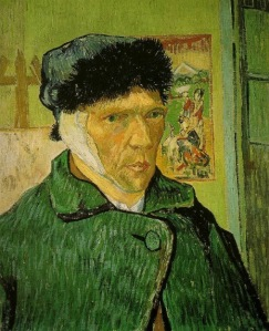 52-van gogh Self-portrait with Bandaged Ear, Easel and Japanese Print, January 1889 arles