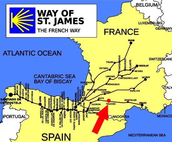 Image result for Santiago de Compostela; one crosses the Jurançon terroir: map of the Arles routeroute.