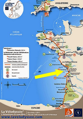 Map Of West Coast Of France.France Velodyssey The Port De La Cayenne Marennes La